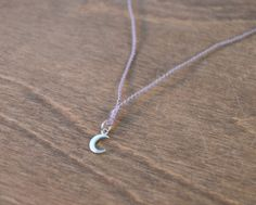 Moon Wish Necklace - 925 Sterling Silver & Your Choice of Silk Color by CatMHorn on Etsy