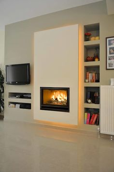 Wood fireplace, infire 800 green, bodart and gonay Home Fireplace, Modern Fireplace, Living Room With Fireplace, Fireplace Design, Living Room Modern, Living Room Bedroom, Valor Fireplaces, Cheap Apartment, Bohemian Style Bedrooms
