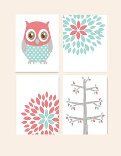 Nursery Wall Decor- Prints for Girls Nursery- Set of 4 Prints- Aqua Coral Gray- Owl, Flower Blossom, Tree- Set of 4 Prints on Etsy, $48.00