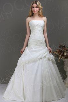 Trendy Trumpet Mermaid Strapless Chapel Train Organza Wedding Dress CWLT130E1 $577.50 wedding dress, wedding dress, wedding dress, wedding dress, wedding dress