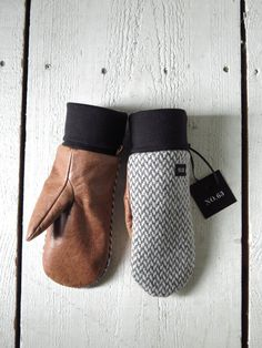 Gray wool and tan leather mittens for mens and womens