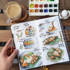 Mandatory food trail 🍚🍝🍢☕🍗🍖🍳 Sketchbook Inspiration, Bullet Journal Inspiration, Art Sketchbook, Dessert Illustration, Watercolor Illustration, Sketch Journal, Art Journal Pages, Recipe Drawing, Food Sketch