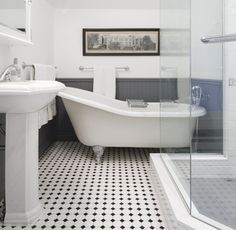 Interesting Edwardian Bathroom Design Ideas and Edwardian Bathroom Edwardian Bathroom White Tiles And Traditional Black White Bathrooms, White Bathroom Tiles, Bathroom Floor Tiles, Black And White Bathroom Floor, Black Floor, Bead Board Bathroom, Floor Sink, Bling Bathroom, Wall Tiles