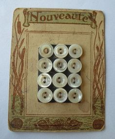 Vintage Nouveaute Mother of Pearl Buttons on Card w/Cattails & Water Lily