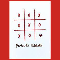 Ääriviivatarrojen ja langan avulla valmistettu Ystävänpäiväkortti. Valentine Crafts, Valentines Day, Crafts To Make, Cards, Handmade, Valentine's Day Diy, Hand Made, Maps, Playing Cards