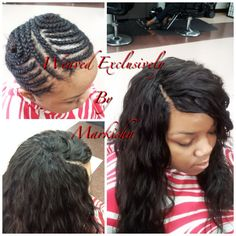 Invisible braids using freetress elegance curl and sew in weave