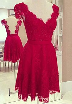 Red Floral Hollow-out Irregular V-neck Cap Sleeve Lace Dress