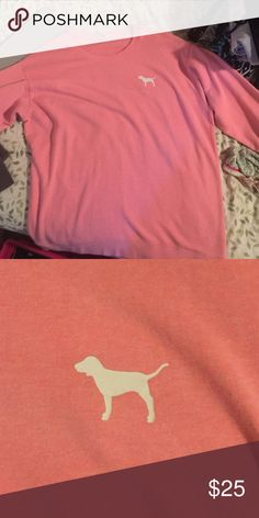 VS Pink sweatshirt VS Pink sweatshirt with just a dog on the front left. Size L, runs big PINK Victoria's Secret Tops Sweatshirts & Hoodies