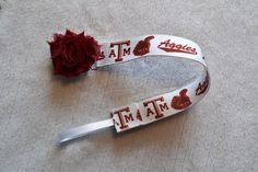 Texas A&M Aggies Universal Pacifier Clip With Shabby Flower or Enamel Clip for Baby Girl or Baby Boy
