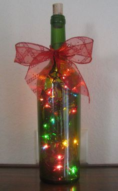 40 Last Minute Awesome Christmas Craft Idea Homemade - Wedding Inspire Christmas Wine Bottles, Lighted Wine Bottles, Bottle Lights, Recycled Wine Bottles, Glass Bottle Crafts, Wine Bottle Art, Cork Crafts, Holiday Crafts, Do It Yourself Decoration