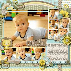 9 photo scrapbook page idea