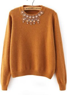 Rhinestone Knit Crop Khaki Sweater 25.67
