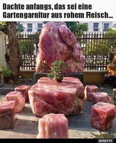 Dachte anfangs, das sei eine Gartengarnitur aus rohem.. Lol, Beef, Cool Stuff, Funny, Genie, Geology, Rose Quartz, Firewood, Vegan