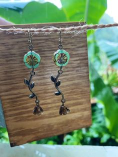 Flower Earrings, Boho Earrings, Etsy Earrings, Patina Color, Boho Designs, Glass Flowers, Czech Glass Beads, Personalized Jewelry, Hippie Boho
