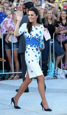 Large crowds cheer and try to catch a glimpse of Catherine, Duchess of Cambridge as she does a walkabout on the South Bank on April 19, 2014 in Brisbane, Australia.