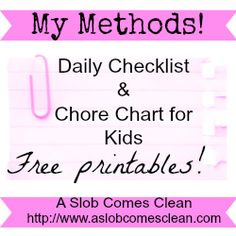 Daily Checklist & kid chore chart - free printable version  Moms everywhere are taking a deep breath and resolving to be more organized & teach their kids to be responsible. Are you one of them?