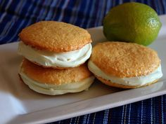 Key Lime Whoopie Pies  looks easy and yum! (i would use cake mix+1 C greek yogurt + 1 C water instead of oil)
