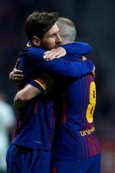 MADRID, SPAIN - APRIL 21: Andres Iniesta celebrates after scoring his team's fourth goal with Leo Messi during the Spanish Copa del Rey Final match between Barcelona and Sevilla at Wanda Metropolitano on April 21, 2018 in Madrid, Spain. (Photo by Quality Sport Images/Getty Images) Fc Barcalona, David Ramos, Lionel Messi Family, Fc Barcelona Wallpapers, Barcelona Team, Barcelona Spain, Messi Fans, Messi Soccer, Bavaria