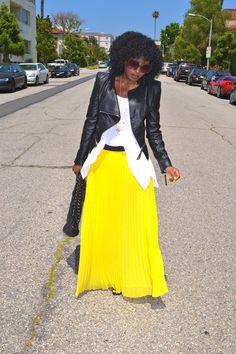 Style Pantry   Puff Sleeve Moto Jacket + Boho Tank + Pleated Maxi Skirt