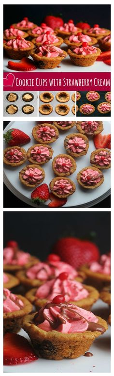 Cookie Cups with Strawberry Cream | Grandbaby Cakes