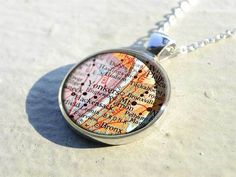 Handmade vintage Yonkers map necklace pendant charm jewelry - birthday gift for mother - M1277CP