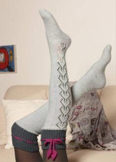 Knee-high socks with garters Crochet Boots, Crochet Scarves, Teen Stockings, Argyle Socks, Knee High Socks, Knitting Accessories, Knitting Socks, Leg Warmers, Mittens