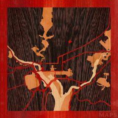 8x8 Woodcut Map of Washington, District of Columbia