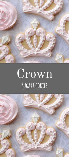 Elegant Pink & White Princess Crown and rosette Cookies - One Dozen Decorated Sugar Cookies #affiliate