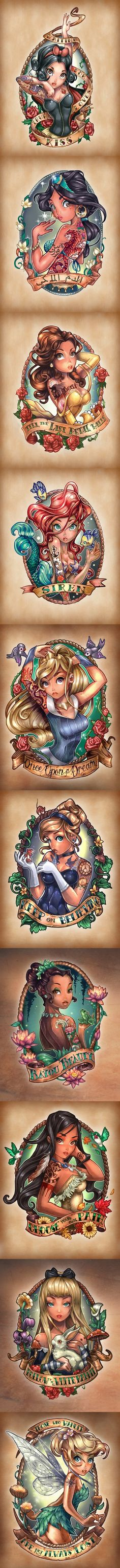 8 Disney Princesses as Tattooed Pinup Girls! ( + Alice and Tinkerbell ) might have to get Ariel or Tinkerbell ! They're my fav Disney characters !