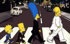 The Beatles: Abbey Road Album Cover Parodies. A list of all the groups that have released album covers that look like the The Beatles Abbey Road album. Homer Simpson, Lisa Simpson, Simpsons Art, Simpsons Funny, Abbey Road, Ringo Starr, Simpsons Springfield, Los Simsons, Comics