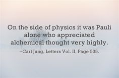 On the side of physics it was Pauli alone who appreciated alchemical thought very highly.