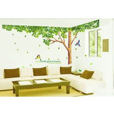 Big Tree Muursticker Warm Romantic Birds Fresh Green Leaves DIY Wall Stickers Living Room TV/Sofa Backdrop Decor Mural Decal
