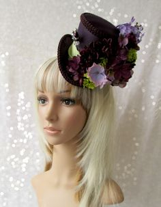 Plum and Chartreuse Mini Top Hat Alice in Wonderland by ChikiBird