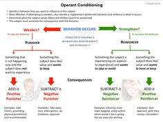 Operant conditioning explanatory diagram for positive and negative reinforcement and punishment