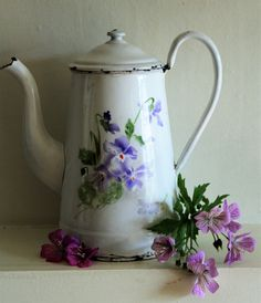 Vintage French Enamel Coffee Pot White With Blue by uniqueenamel