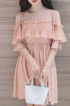 Sweet High Waist Round Neck Pleated Solid Color Flounce Sleeve Dress For Women #Women #pin #style