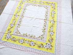 Vintage 1950s Tablecloth Dogwood Print 65 x 60 by VintageZipper