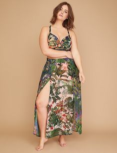 249a13fa14d63 Floral Double Slit Cover-Up Maxi Skirt