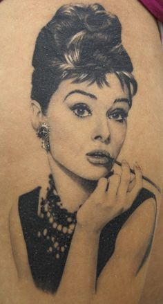 Audrey Hepburn Pin Up Tattoo - Xavier Garcia Boix http://pinupgirlstattoos.com/audrey-hepburn-pin-up-tattoo/