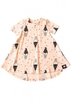 This short sleeve peachy-pink jersey dress has a twirly A-line shape and is printed all over with upside-down and right-side-up ice cream cones.