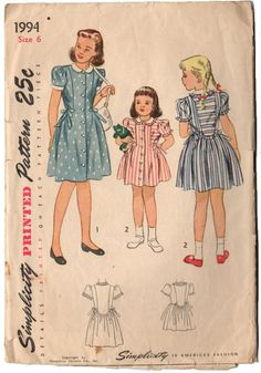 Vintage 1940s Simplicity Sewing Pattern 1994 Girls Puffy Sleeve Dress Peter Pan Collar Button Up with Bow