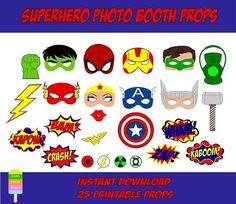 Happy Fiesta Design - Printable Photo Booth Props - Superheroes Photo Booth - Superhero Photo Props  #happyfiestadesign #photobooth #photoprops #printableprops #partyprops #photoboothprops  #superhero #superheroparty #superheroprops #superheroes #spiderman #hulk