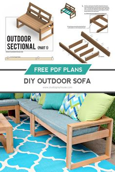 Free plans to build a DIY outdoor sofa out of cedar planks. Build three pieces to create an outdoor sectional for under $100.