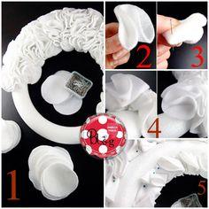 W la creatività: Idee per decorazioni natalizie ... alternative! { Parte 2° } Come fare una ghirlanda con i dischetti di cotone leva-trucco