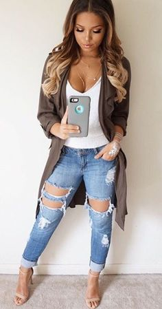 Distressed denim trends.