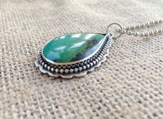 Huge Green Turquoise Pendant // Handcrafted Artisan Jewelry by moonandforgestudio on Etsy