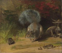 """William Holbrook Beard """"Squirrel and Mice"""" (also known as Making Acquaintance) (modified) 1859 