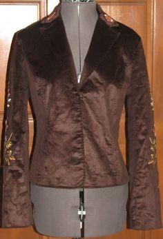 EVELYN artsy brown cotton blend embroidered corduroy jacket  6 (TC205H5G) #EVELYN #Jacket
