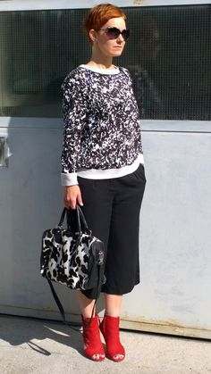 cow print bag, black and white splash pattern sweater, zebra sunglasses, red open toe booties, culottes by @abfunkyjungle