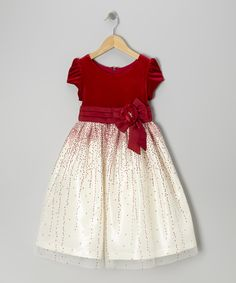 Jayne Copeland Red Velvet Glitter Tulle Cap-Sleeve Dress - Toddler & Girls by Jayne Copeland #zulily #zulilyfinds